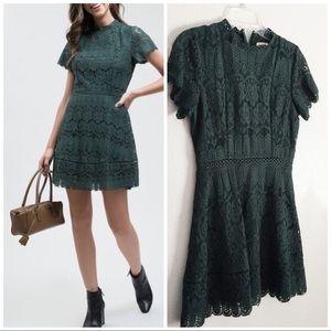 Mock Neck Lace Short Sleeve Hunter Green M Dress👗